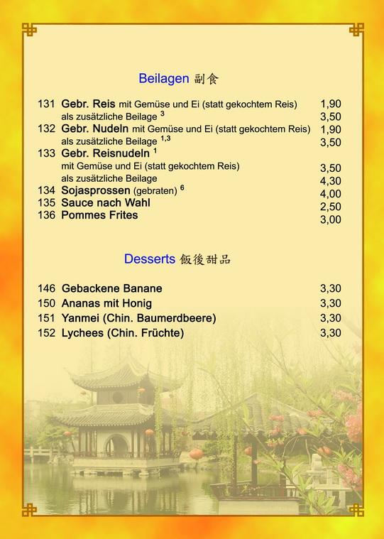 Speisekarte Asia Garten China Restaurant